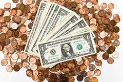 E moedas de um centavo Imagens de Stock