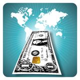 E-money. One-dollar bill with an electronic chip on a world map background stock illustration