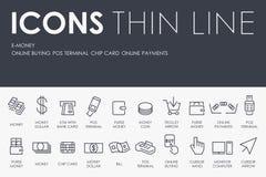 E-money Thin Line Icons. Thin Stroke Line Icons of E-money on White Background Stock Photos