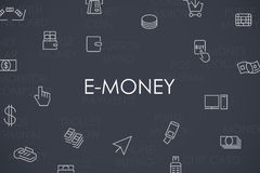 E-Money Thin Line Icons. Thin Stroke Line Icons of E-Money on White Background Royalty Free Stock Photo