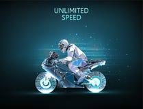 E Moto et coureur illustration libre de droits