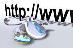 E-Mouse Internet Search. A computer mouse helps searching the internet Stock Photo