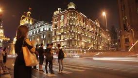E Nattsikt l?ngs bunden i centrala Shanghai arkivfilmer