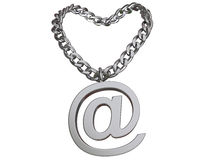 E-necklace;. 3d rendered chain with symbol, isolated on white royalty free illustration
