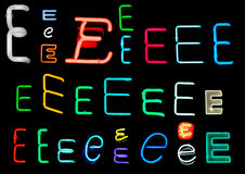 E Neon Letters. Neon letters E collected from neon signs for design elements Royalty Free Stock Photos
