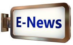 E-news on billboard background. E-news wall light box billboard background , isolated on white Stock Photos