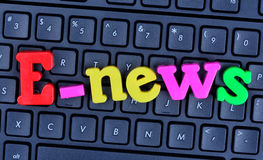 E-news word on computer keyboard Royalty Free Stock Images