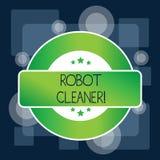 E O conceito que significa a programa??o inteligente e um sistema limitado da limpeza do v?cuo coloriu ilustração stock