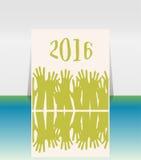 2016 e o pessoa entregam símbolo ajustado A inscrição 2016 no estilo oriental no fundo Fotografia de Stock