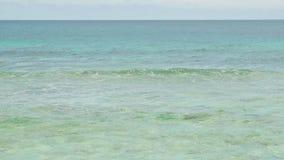 E Ondas do mar na ilha bonita Seychelles; movimento lento filme