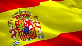 E Ondeggiamento nazionale della bandiera dello Spagnolo 3d Segno dell'animazione senza cuciture del ciclo della Spagna r illustrazione di stock
