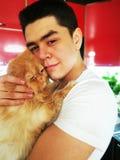 E Orange persisk katt Lycka r f?r?lskelse till djuren arkivfoto