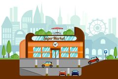 E Orientering på bakgrunden av staden royaltyfri illustrationer