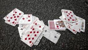 E os cartões caíram Foto de Stock Royalty Free