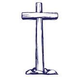E Påsk symbolet av drog vektorillustrationen för kristendomen handen skissar vektor illustrationer