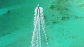 E Palmeiras tropicais da paisagem, mar das caraíbas e barco de navigação video estoque