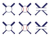 E Palos cruzados béisbol Palos de la cruz de Criss Ejemplo plano del vector ilustración del vector