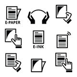 E-paper, e-ink technology display device icons set Royalty Free Stock Image