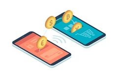 E-payment app on smartphone. Safe and easy e-payments on smartphone using financial apps: international currencies and bitcoins transferring from an account to Stock Image