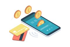 E-payment app on smartphone. Safe and easy e-payments on smartphone using financial apps and international currencies: a user is receiving money on his Royalty Free Stock Photos