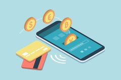 E-payments and transactions on mobile devices. Safe and easy e-payments on smartphone using financial apps and international currencies: a user is receiving Stock Image