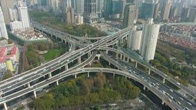 E porslin shanghai flyg- sikt stock video