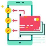 E-portefeuille overdracht aan veelvoudige rekeningen vlakke illustratie royalty-vrije illustratie