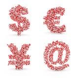 E-post för yen för euro för Pillsalfabetdollar Fotografering för Bildbyråer