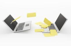 E - post. Laptops Stock Afbeeldingen