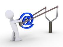 e-post som överför att använda för slingshot Arkivbilder