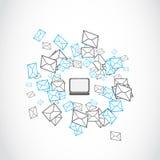 E-postbrevskickandebegrepp Fotografering för Bildbyråer