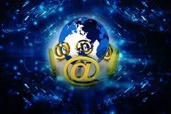 e-posten 3d undertecknar med jordklotsymbolen Fotografering för Bildbyråer
