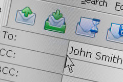 e-postmeddelandet överför Arkivfoton