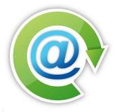 E-postsymbol med den gröna piletiketten över Arkivfoto