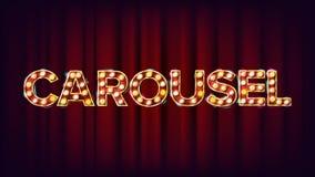 E Pour l'affiche, conception de brochure Élément rougeoyant du style 3D de cirque Rétro illustration illustration stock