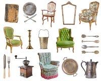 E Pratos velhos, dispositivos, chaleiras, cadeiras, livros, moedor de café, castiçal, molduras para retrato ilustração stock
