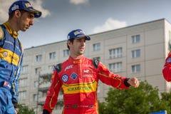 E-Prix FIA惯例E冠军颁奖仪式的Sébastien Buemi和卢卡斯・迪・格拉西 库存图片