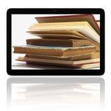E-programa de lectura del E-libro con los libros en la pantalla fotos de archivo