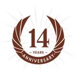 E Projeto elegante do logotipo do aniversário Quatorze anos de logotipo ilustração stock