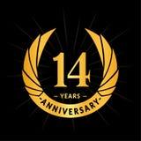 E Projeto elegante do logotipo do aniversário Quatorze anos de logotipo ilustração do vetor