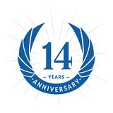E Projeto elegante do logotipo do aniversário Quatorze anos de logotipo ilustração royalty free