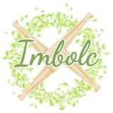 E r Σταυρός της Brigid σε ένα στεφάνι των πράσινων φύλλων διανυσματική απεικόνιση