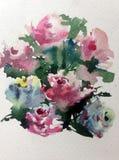 E r Όμορφος τρυφερός ρομαντικός θερινός κήπος με τα λουλούδια απεικόνιση αποθεμάτων