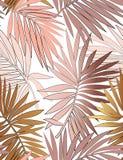 Тропическая безшовная картина с листьями иллюстрация штока