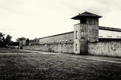 萨森豪森集中营的被修饰的照片,SS卫兵两个哨兵能被看见 库存图片