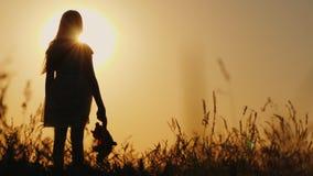 Silhouette eines Mädchens mit Ballons und einem Teddybär Der Sonnenuntergang ist wert Abschied von der Kindheit stock footage