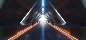 三角隧道霓虹萤光充满活力的橙黄色蓝色发光的具体被带领的激光黑暗的空的走廊入口 向量例证
