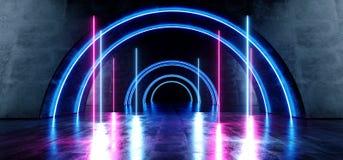 霓虹激光蓝色紫色桃红色卵形圈子隧道走廊具体难看的东西反射性黑暗的走廊地下车库空的霍尔 库存例证