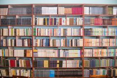 E r Bibliotheks-B?cherregale stockbilder