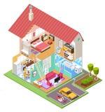 E r 3D传染媒介房子 库存例证